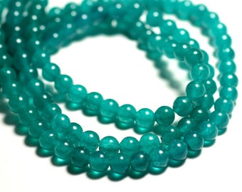 20pc - beads - Jade balls 6mm blue green Peacock duck - 8741140016057