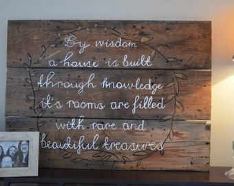"Large (22""x 30"") Rustic Verse Sign, Psalm 34:3,4 , 100% Re-purposed Wood"