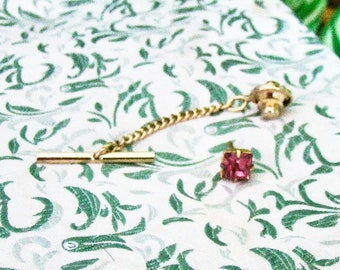 Pink Rhinestone on Gold Tone Setting Tie Tac - Tack