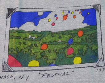 Vintage 80s 1984 Ithaca New York Festival Gray T-Shirt