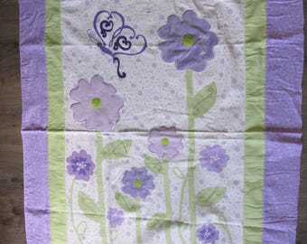 Fabric 36 x 44 Inch Flannel 3-D Purple Flowers Lime Leaves Butterflies Quilt Top Panel Cotton