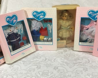 """1988 Vogue Ginny Doll 8"""" Poseable Pollyanna New in Box with 5 Outfits also NIB"""