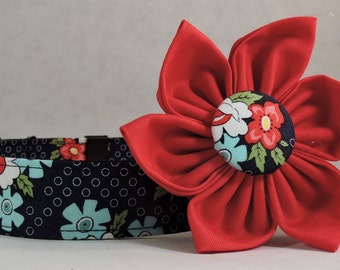 Dog Collar  with Flower - Daysail Blooms - All Sizes