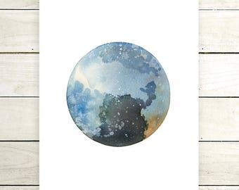 "Planet Watercolor Painting. ""Dunya"" Fine Art Print. Galaxy. Decor. Giclée"