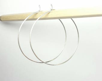 Silver hoop earrings / Sterling silver 5cm skinny hoops  / Modern / Handmade in the UK / 2 inch boho fine hoops / Karmasilver uk
