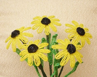 Handmade Yellow Black Eyed Susan's .. French Beaded Flowers