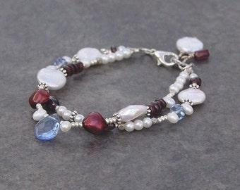 Pearl Bracelet, Red, White, Blue, Double-Strand, Coin Pearl, Freshwater Pearl, Garnet, Mixed Bead Bracelet