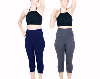 Cotton Leggings Capri Yoga Pant Cotton Lycra Legging Mid Length Workout Pants High Waist Gym Wear