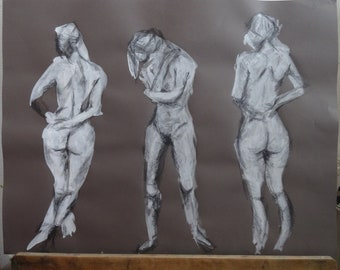 Triptych of female nude figure, white ink and pencil on canson paper