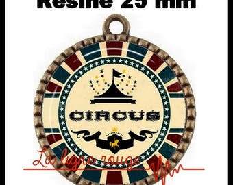 Bronze pendant round Cabochon 25 mm epoxy resin - Hall artists (523) - circus tent, circus, text, humor