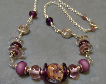 Lampwork Beaded Sterling Silver Neckalce-Artisan Wire Wrapped Lampwork Beaded Necklace-Boro Artisan Lampwork-Artisan Lampwork Beads-SRAJD