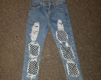 High Waisted Cut-Off Ripped Jeans with Netting