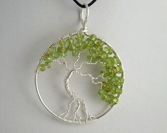 Tree of Life pendant, Gemstone Tree of Life, Peridot Tree of Life, Silver Pendant, Wire Wrap, Gemstone Pendant, Tree of Life, Satin Cord