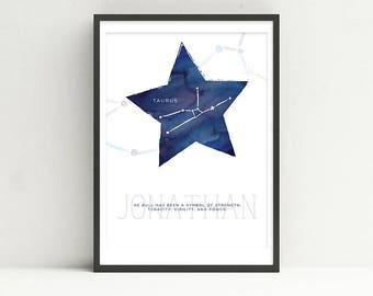 TAURUS - Zodiac Horoscope Custom Child Baby Nursery Room Art