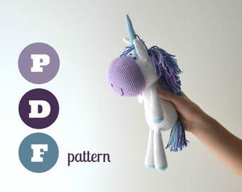 Amigurumi unicorn pattern. Instant download file. Rosalia, cute fantasy animal