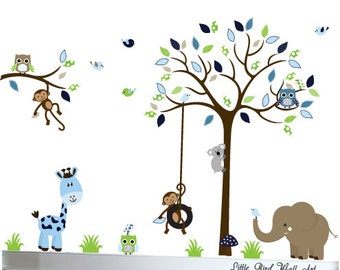 Children wall decals tree owl wall decal vinyl decal tree wall - 087