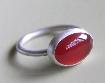 Carnelian Ring Sterling Silver Ring Bezel Set Orange Stone