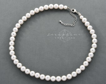 Pearl Necklace, Wedding Pearl Necklace, Wedding Jewelry, Bridal Pearl Necklace, One Strand, Swarovski Pearls, Bridesmaid Gifts Classic N02