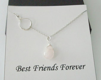 Infinity Charm with Rose Quartz Silver Necklace ~~Personalized Jewelry Gift Card for Friend, Best Friend, Sister, Bridal Party