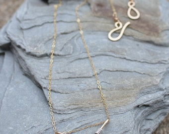 Mini Chevron Necklace, 14K Gold Filled with Silver Accent, Minimalist, Wire Jewelry