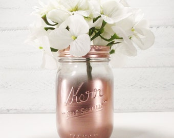 Clear Partial Metallic Painted Pint Mason Jar Flower Vase-Country Decor-Cottage Chic-Shabby Chic-French Chic