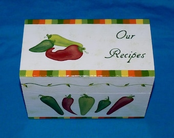 Decorative Wood Recipe Card Box Personalized Recipe Card Holder Peppers Hand Painted Wedding Wooden Chili Pepper Recipe Box 4x6 Gift