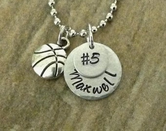 Hand Stamped Personalized Basketball Necklace with Basketball Charm, Basketball Mom, jersey number, birthstone, team sports