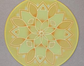 """Lotus Flower mandala, Silk painting, 20cm Ø diametre, 8"""""""
