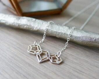 Sterling Silver Geometric Diamond Cut Out Necklace, Geometric Jewelry, Geometric Jewel Necklace, Modern Jewelry