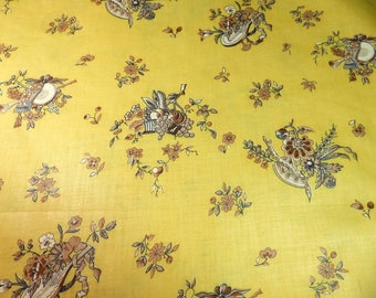 1950's vintage fabric,glazed unused cotton with musical instruments.