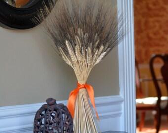 Halloween Decoration- Halloween Decor- Wheat Sheaf Fall Decor- Halloween Colors, Dried Floral Decor, Table Centerpiece, Dried Wheat Bundle,