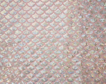 Baby Pink & Silver Round Scale Spandex Fabric Holographic Mermaid Rainbow Shimmery Angelic Holo Sparkly Dragon Lizard Fish (By the Yard)