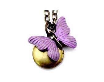 "Butterfly Small Locket 20"" Antiqued Brass Chain"
