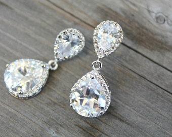 Bridal cubic zirconia valentines gift teardrop earrings wedding jewelry graduation party earpost dangle bride sterling silver