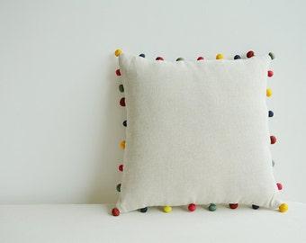 Natural Ecru Color Cotton Linen Cushion Cover with Colorful Fabric Pom Poms , Cotton Linen Decor Pillow , Ecru Linen Scatter Cushion