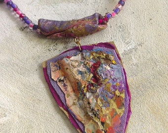 Plum tribal upcycled artist palette in summer colors