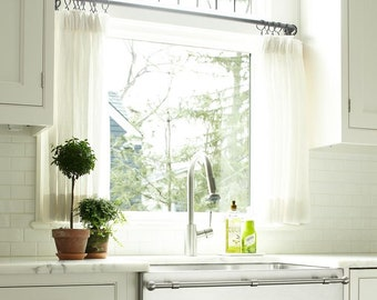 Linen Cafe Curtains - PLAIN Linen - Kitchen Valance - Bedroom Curtains - Linen Drapes - White Window Curtains - Sink Skirt
