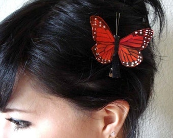 orange butterfly hair clip - butterfly accessories - butterfly headpiece - bohemian hair accessory - hair accessories for women - DESTINY
