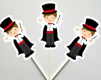 Magician Cupcake Toppers, Magician Birthday, Magic Party