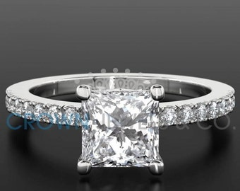 Princess Cut Engagement Ring 1.2 Carat F VVS1 Diamond Women's White Gold Setting With Side Accent Diamonds
