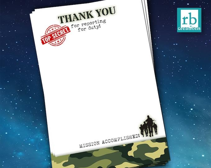 Camo Party Thank You Card, Army Thank You, Camo Birthday, Camo Party, Army Birthday, Camouflage, Military - Digital Printable