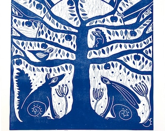 linocut, Tree of Life, blue, printmaking, fox, hare, tree, squirrel, bird, apples, home interior, printmaking, country style, navy blue,