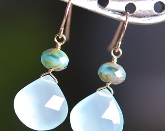 Aqua Chalcedony Earrings, 14K Gold Fill French Ear Hooks, Czech Swirled Glass, Wire Wrapped, Sea Dream, Large