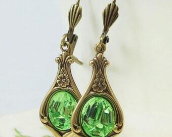 Peridot Green Earrings Dangles Art Deco Shabby Chic Victorian Bridal Wedding Jewelry
