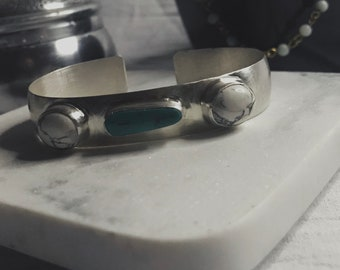 Turquoise and magnesite cuff