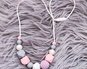 Silicone Teething Necklace, Nursing Necklace 'Rebecca' Pink / Grey / New Mum Gift, Baby Gift, Teether, Fiddle Beads, Teething, Breastfeeding