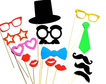 Best Set Photo Booth Props  - 15  piece set - Photobooth Props Party Props