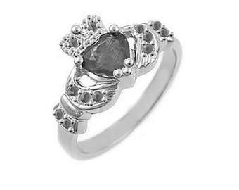 Claddagh Engagement Ring, Claddagh Ring For Her, Silver Claddagh Ring , Claddagh Celtic Ring, Ladies Claddagh Ring Black Cubic Zirconia