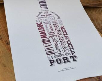 Hand Typeset Wine Varietals - 11x17 Typography Poster