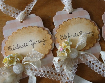 Gift tags for Spring Celebrate! embellished gift tags package ties gift wrap embellishments May Day gifts paper art tag ornaments gift